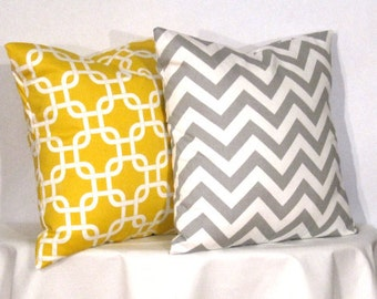 "16"" Decorative Pillows 1 Grey and White Chevron Zig Zag and 1 Yellow and White Gotcha Accent Pillow - 16x16 inch square - TWO PILLOW COVERS"