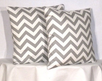 "22"" Chevron Zig Zag Pillow Set - Set of 22 x 22 Inch Chevron Pillow Covers - Grey and White - TWO PILLOW COVERS"
