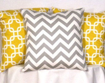 Designer Pillow Covers - Set of 3 - 16 X 16 Inch Chevron and Gotcha Pillow Covers - Decorator Pillows