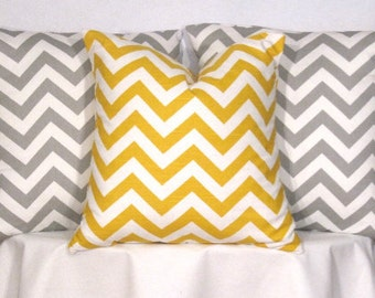 18 Inch Modern Pillow Covers - Set of 3 - 18 X 18 Inch Yellow and Grey Chevron Zig Zag Pillow Covers