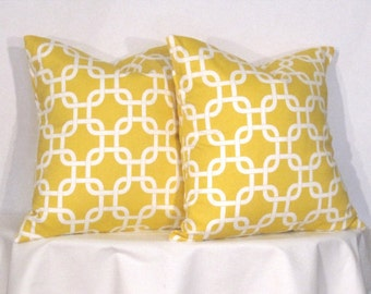 Pillow Covers -  Two Yellow and White Gotcha -Accent Pillow - 20 x 20 inch square - TWO PILLOW COVERS