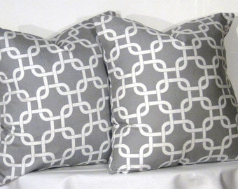 Decorative Pillows 2 Grey and White Gotcha Accent Pillow - 16 x 16 inch square - TWO PILLOW COVERS