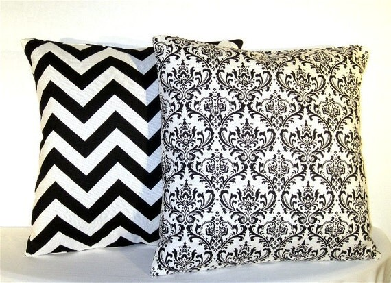 Accent Pillows - Set of 16 x 16 Inch Damask and Chevron Pillow Covers - Black and White Damask and Zig Zag