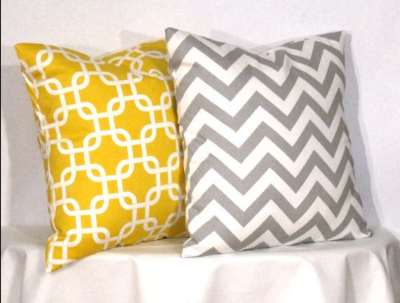 "18"" Decorative Pillows 1 Grey and White Chevron Zig Zag and 1 Yellow and White Gotcha Pillow - 18 x 18 inch square - TWO PILLOW COVERS"