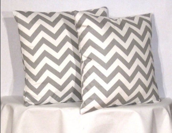 "18"" Chevron Zig Zag Pillow Set - Set of 18 x 18 Inch Chevron Pillow Covers - Grey and White - TWO PILLOW COVERS"
