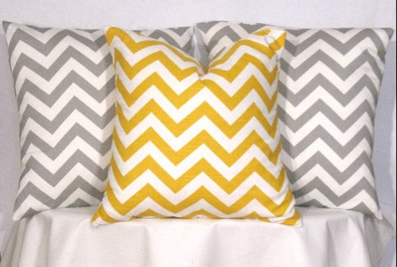 Modern Pillow Covers Etsy : Items similar to 18 Inch Modern Pillow Covers - Set of 3 - 18 X 18 Inch Yellow and Grey Chevron ...