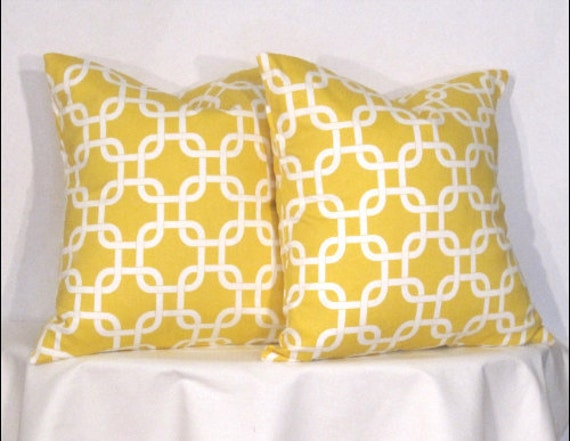 Pillow Covers -  Two Yellow and White Gotcha -Accent Pillow - 16 x 16 inch square - TWO PILLOW COVERS