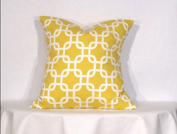 Throw Pillow Cover 18x18 inch Gotcha Yellow and White Designer Pillow