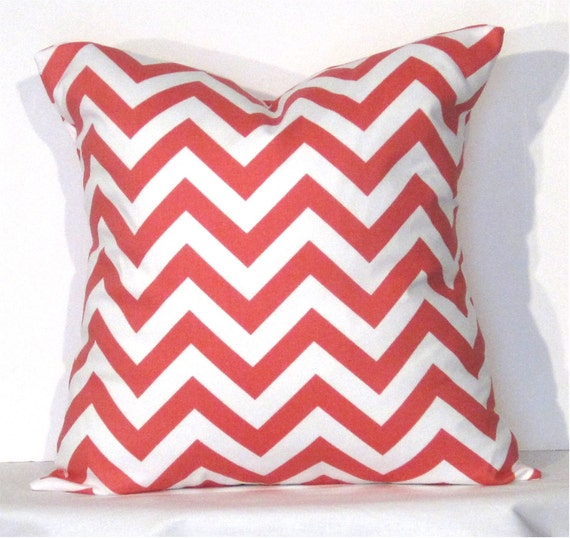 16x16 Decorative Pillow Covers : Throw Pillow Cover 16x16 inch Chevron Coral and White
