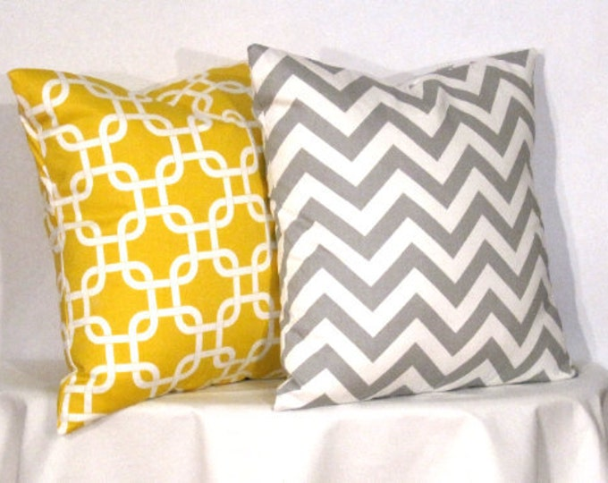 22x22 inch pillow covers yellow and white chevron zig zag