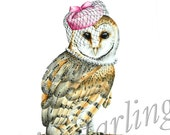 Barn Owl with Pill Box Hat and Pearls Art Print - 8x10