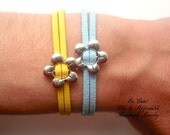 Flower  bracelet - Antique silver flower bracelet - leather bracelet - real leather bracelet -   suede - yellow and blue bracelet