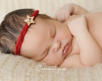 Newborn Tie Back Red Halo with Wood Star Button fits Newborn, Baby, Child, Teen, Adult Photography Prop