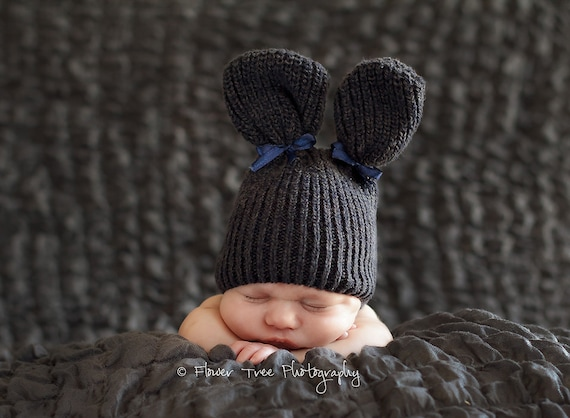 Newborn Gray Upcycled Bunny Hat Photography Prop