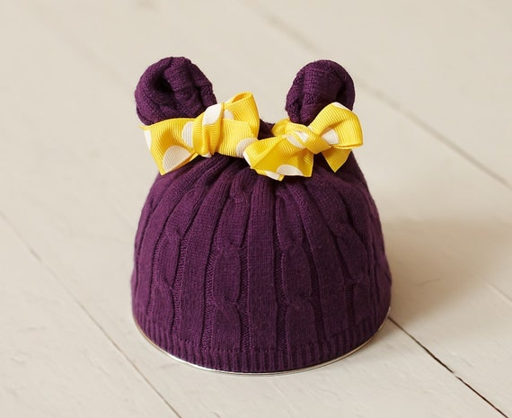 Newborn Hat Upcycled Purple and Yellow Polka Dot Bear Hat Photography Prop