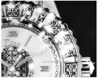 Dior, Dior Watch, diamonds, photography, fine art photography, home decor, black and white, time