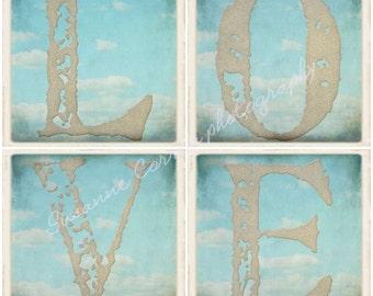 Love fine art photography, love, shabby chic, clouds, 8x8, home decor, sand, blue, white, print