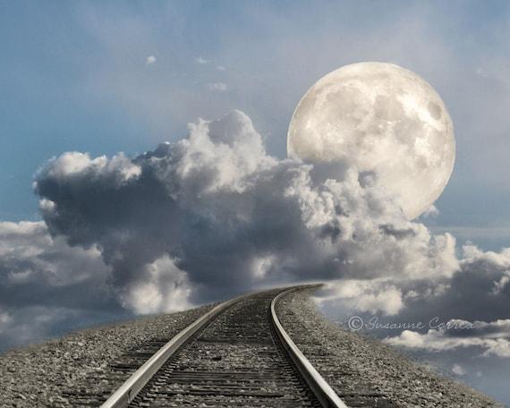 Supermoon 2012, railroad tracks, Las Vegas, fine art photography, landscape, clouds, 8x10, home decor,