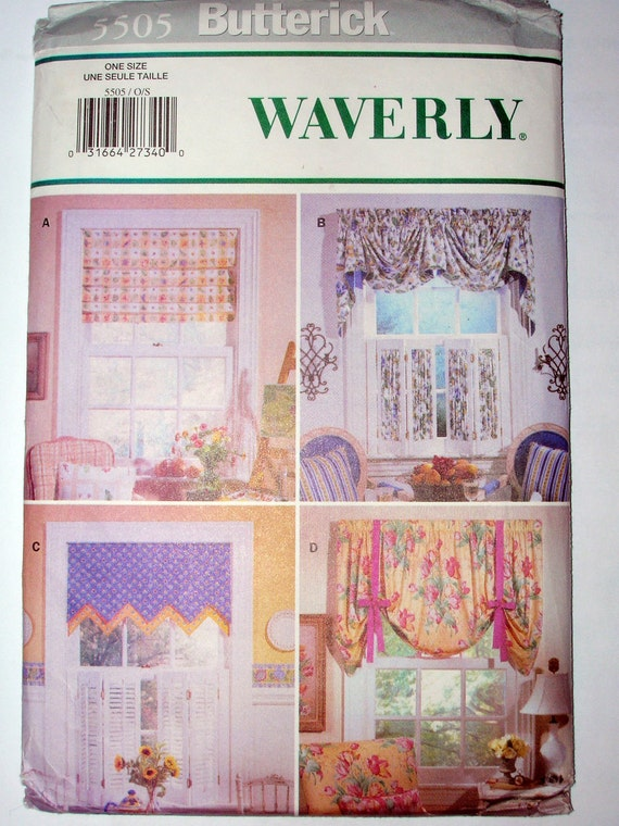 Butterick 5505 window treatment sewing pattern 1 size by for Professional window treatment patterns