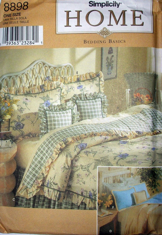 Simplicity 8898 Home Decor Bedding Pillow Sham comforter dust ruffle pattern sewing