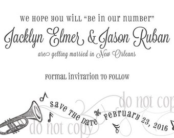 New Orleans Jazz Save the Date - Set of 50 cards and envelopes