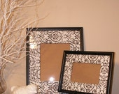 Picture Frames Set of 2 with Black/White Damask Fabric Mat