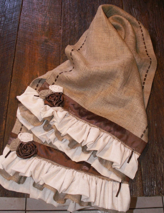 Rustic Natural Burlap Table Runner with Fabric Flowers