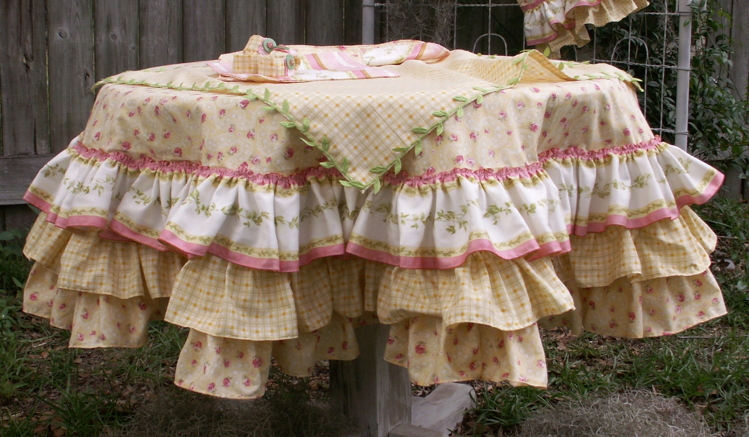 Shabby Chic Tea Party Table Set Up with Round Tablecloth and
