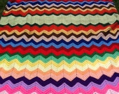 Vintage Retro Granny Quilt Knit ZigZag pattern Blanket Throw Pink Purple Yellow Green Blue Red Navy 1960s Twin Size