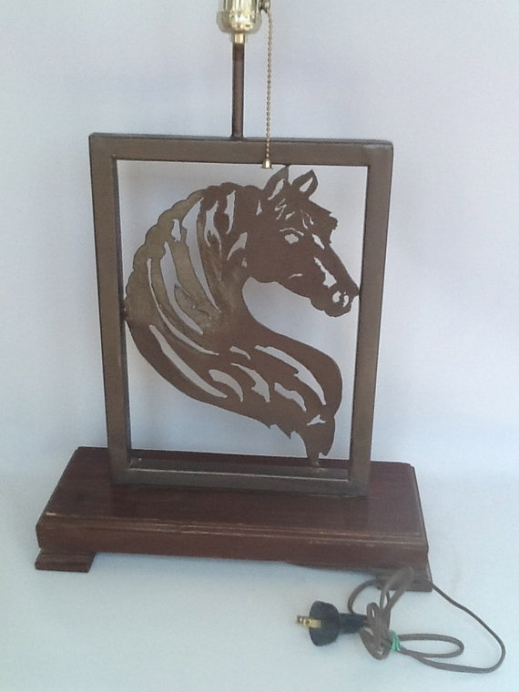 Vintage Handmade Wrought Iron Horse Lamp on Wooden Base 1950s