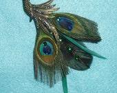 Peacock In Flight Brooch