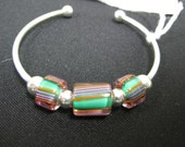 Handmade Glass Bead and Silver Bracelet 100% of the profits go directly to artists with disabilities. Item 18 Cher P.