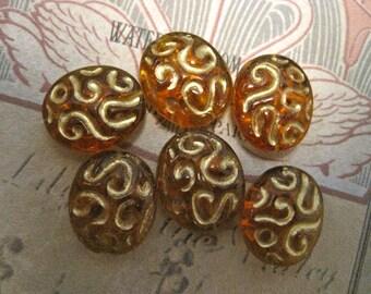 6 OVAL FILIGREE AMBER Beads
