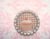 CHERRY FROSTING Cupcake with Polka Dot Coffee Bean Brown background YUM- cupcake gifts , cupcake toppers, cupcake favors, fridge magnets