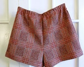 RESERVED FOR SHANNAN Highwaisted Upcycled Shorts - 1960s Red Orange and Brown Polyester Prepster Shorts