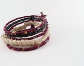Fabric Bangle Stack - Burgundy Green and Tan