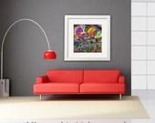 Abstract Art Print  THE FORBIDDEN GALAXY Living Room, Kids Room, Galaxy, Decor, Digital Painting, 50x50 cm Free Shipping