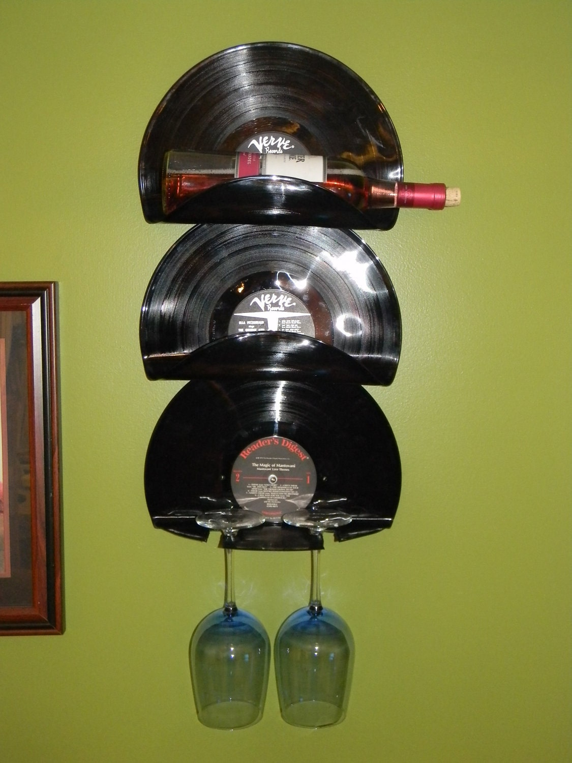 Wall Mounted Vinyl Record Wine Rack And By Lilleyhillcreations
