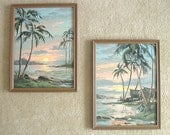 Two Vintage 1950's Tropical Polynesian Scene 17 x 13 Framed Paint By Number Paintings