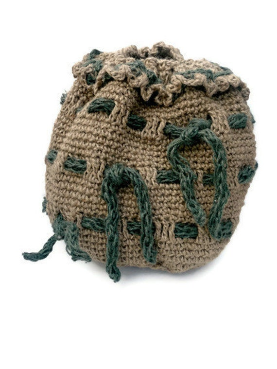 Duffel Bag with drawstring handle.  Round Crocheted Jute Duffle Bag. Kit bag. Gym bag.