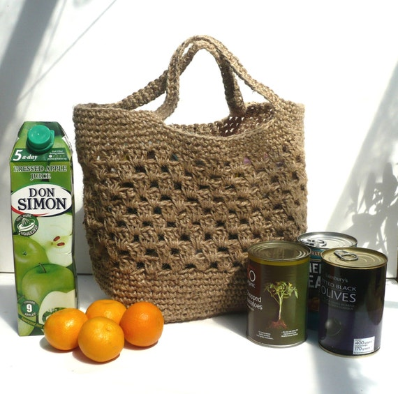 Tote Shopping Bag: Strong Crocheted Jute. Made in England.
