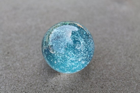 Contemporary Art Glass Blue SKY Galaxy Hand Made Lampwork Marble by Jenifer Liput 1.4 in