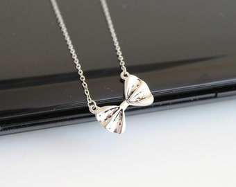 Silver bow necklace, simple everyday jewelry