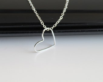 Silver small heart necklace, simple everyday jewelry