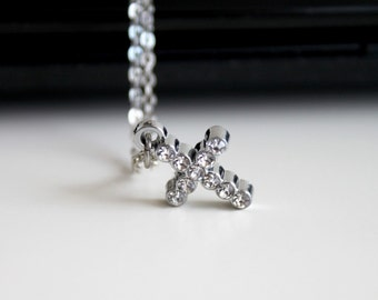 Silver cross necklace, clear rhinestone necklace, tiny cross necklace, simple everyday jewelry