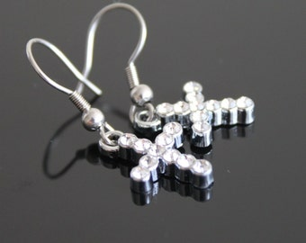 Silver clear rhinestone cross small earrings, petite silver earrings, simple everyday jewelry