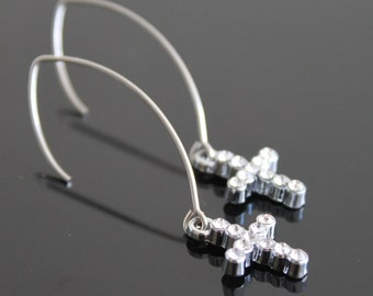Silver clear rhinestone cross earrings, long hook earrings, simple everyday jewelry
