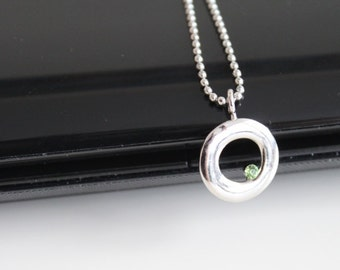 Silver green rhinestone circle necklace, peridot necklace, simple everyday jewelry