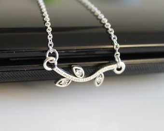 Silver branch and leaves necklace, white gold small necklace, petite silver necklace, simple everyday jewelry