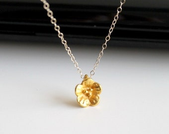 Organics matte gold flower necklace, gold fill necklace, simple everyday jewelry